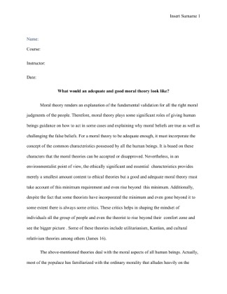 What would a satisfactory moral theory be like essay