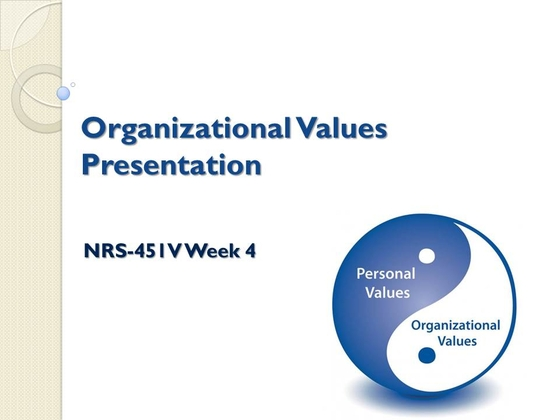 organizational culture and values power point A shift in organizational culture resulting from a change in underlying strategy  and processes that an  connect to the deepest values of staff and leadership.