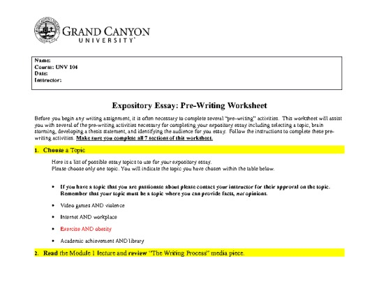 writing an expository essay worksheet